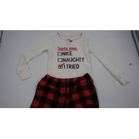 CARTERS SANTA SAYS I TRIED TODDLERS PAJAMAS 2T  WHITE/RED/BLACK
