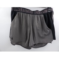 UNDER ARMOUR 1292231 WOMENS PLAY UP SHORTS 2.0 CARBON HEATHER/BLACK SIZE L