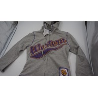 CREATIVE APPAREL CONCEPTS WESTERN COLLEGE FULL ZIP KIDS HOODIE GREY/PURPLE/YELLOW M