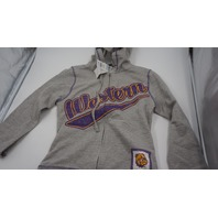 CREATIVE APPAREL CONCEPTS WESTERN COLLEGE FULL ZIP KIDS HOODIE GREY/PURPLE/YELLOW L