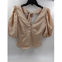 ABERCROMBIE & FITCH SATIN BOW-BACK BLOUSE LIGHT PINK-CREAM WOMENS SIZE XS