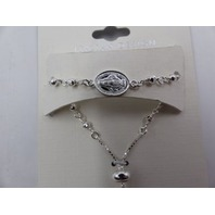 SEVIL STERLING SILVER ADJUSTABLE VIRGIN MARY BRACELET