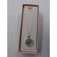 MORICCI MARY MOTHER OF CHRIST PRAYING OVAL STERLING SLIVER PENDANT NECKLACE