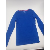 THE TALBOTS SOLID BLUE SHIRT L