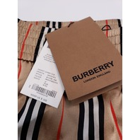 BURBERRY ICON STRIPE SILK SHORTS ARCHIVE BEIGE IP S UK12 US10 IT44 NWT $550