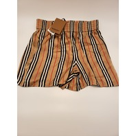 BURBERRY ICON STRIPE SILK SHORTS ARCHIVE BEIGE IP S UK12 US10 IT44 NWT $550