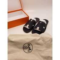 HERMES IZMIR H ICONIC BLUE/BLACK LEATHER SLIDES MENS SANDALS 44 ITALY GENUINE