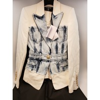 BALMAIN ONE BUTTON DENIM & CREPE BLAZER JACKET NWT SIZE 34