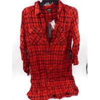 EXPRESS 21737282 RED PLAID LONG TUNIC TOP WOMENS SIZE S