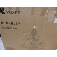 VAXCEL BERKELEY BE-CHU016AW AGED WALNUT FINISH HONEY LINEN GLASS CHANDELIER