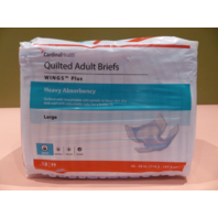 CARDINALHEALTH QUILTED ADULT BREIFS WINGS PLUS HEAVY ABSORBENT LG 18 COUNT L