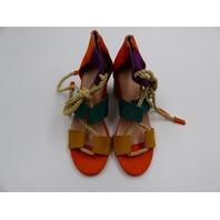WOMENS HEEL PLATFORM GLADIATOR COLORFUL SANDAL WITH ROPE LEG WRAP SIZE 37