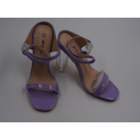 NASTY GAL FH041583 AGG66665 PERSPEX HEEL CROSS STRAP 2 PART HEEL LILAC  WOMENS SIZE  4