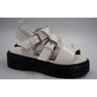 KRUSH LS2843 STRAPPED IN CLEATED PLATFORM SANDALS WHITE WOMENS SIZE 5
