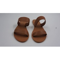 PRETTY LITTLE THING PT-03 TWIN STRAP BASIC LEATHER TAN SANDAL WOMENS SIZE 7