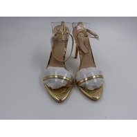 PRETTY LITTLE  THING CMC7204 GOLD WIDE FIT CLEAR STRAP BARELY THERE SANDAL PUMPS WOMENS SIZE 7