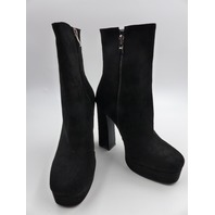PRETTY LITTLE THING KIMORA-2 BLACK FAUX SUEDE HIGH PLATFORM ANKLE BOOT WOMENS SIZE 7