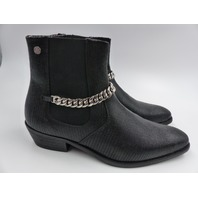 TWISTED TAILOR CUBAN HEEL BOOT WITH CHAIN DETAIL BLACK MENS SIZE UK 8