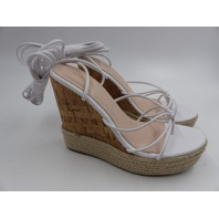 PRETTY LITTLE THING AURELLA TOE THONG STRAPPY ESPADRILLE WEDGE WHITE WOMENS SIZE 6