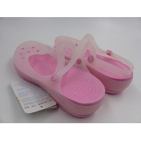 PINK HOLE JELLY CROC FLATS WITH FLOWER CHARMS SHOES WOMENS SIZE 39