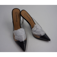 BOOHOO WJR1224126 CLEAR POINTED MULES WOMENS BLACK SIZE 6
