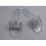 CLEAR RHINESTONE JELLY SLIDE SANDALS WOMENS SIZE 8