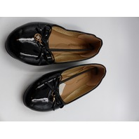 ASHLEY STEWART AS-18022-WOE PATENT LEATHER CHARM WIDE FLAT BLACK WOMENS SIZE 9