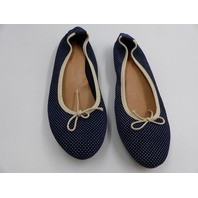 MADE IN ITALY NAVY BLUE POLKA DOT BALLET FLATS WOMENS SIZE 39