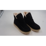 WOMENS SLIP-ON LOW PLATFORM BOOTIES WITH FUR BLACK SIZE 40