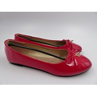 ASHLEY STEWART AS-18022-W PATENT LEATHER CHARM WIDE FLAT RED WOMENS SIZE 9