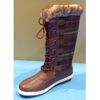 JUST FAB MARLEY BROWN MULTI US WOMEN 9.5 FLAT BOOT