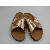 C'M PARIS 2004 CROSS STRAP FOOTBED SLIDER CHAMPAGNE WOMENS SIZE 7