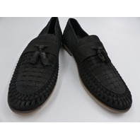 RIVER ISLAND LEAHTER WOVEN TASSLEL LOAFERS BLACK MENS SIZE 40