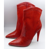 JUST FABULOUS CAPRI RED SYNTHETIC CROC SKIN US WOMEN 10 EU 41 STILETTO BOOTIE