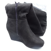 CHINESE LAUNDRY LOVEY-014 BLACK US WOMEN 8.5 WEDGE BOOTS
