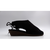 OIL JOLIMALL CROPPED PEEP TOE LOW HEEL WEDGE LACE UP BACK BLACK WOMENS SIZE 9
