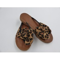 WOMENS FLIP FLOP SANDAL WITH LEOPARD PRINT SUMMER SPRING BOW SIZE 6