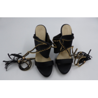 BLACK WOMENS STILETTO HEEL WITH TASSEL AND GOLD CHAIN LEG WRAP SIZE 39