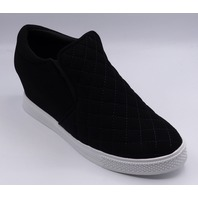 BLACK QUILTED WEDGE SNEAKER WHITE SOLE US WOMEN 7