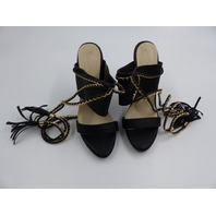 BLACK WOMENS STILETTO HEEL WITH TASSEL AND GOLD CHAIN LEG WRAP SIZE 36