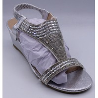 GC SHOES JANICE SILVER US WOMEN 7.5 WEDGE SANDALS