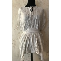 ALLSAINTS WOMENS BLOUSE NEVIS TOP IN OYSTER WHITE UK 8/ US 4  $178 RETAIL
