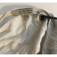 ALLSAINTS WOMENS BLOUSE NEVIS TOP IN OYSTER WHITE UK 6/US 2 $178 RETAIL