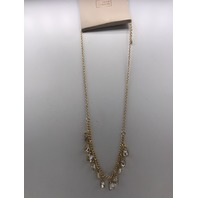 NORDSTROM 14TH & UNION CLEAR GOLD TONE CHARM NECKLACE WITH RHINESTONES