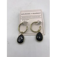 NORDSTROM MELROSE AND MARKET GENUINE STONE GOLD BLACK HOOP EARRINGS