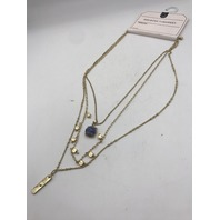 NORDSTROM MELROSE AND MARKET GOLD BLUE STONE LAYERED NECKLACE