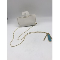 NORDSTROM STEPHAN & CO TURQUOISE GOLD BAR PENDANT NECKLACE