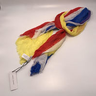 REBECCA MINKOFF WHITE YELLOW RED BLUE LOVE STRIPED FRINGED SCARF