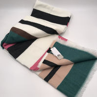 """NORDSTROM BP PINK GREEN BROWN MULTI COLORED SCARF 80"""" X 30"""""""