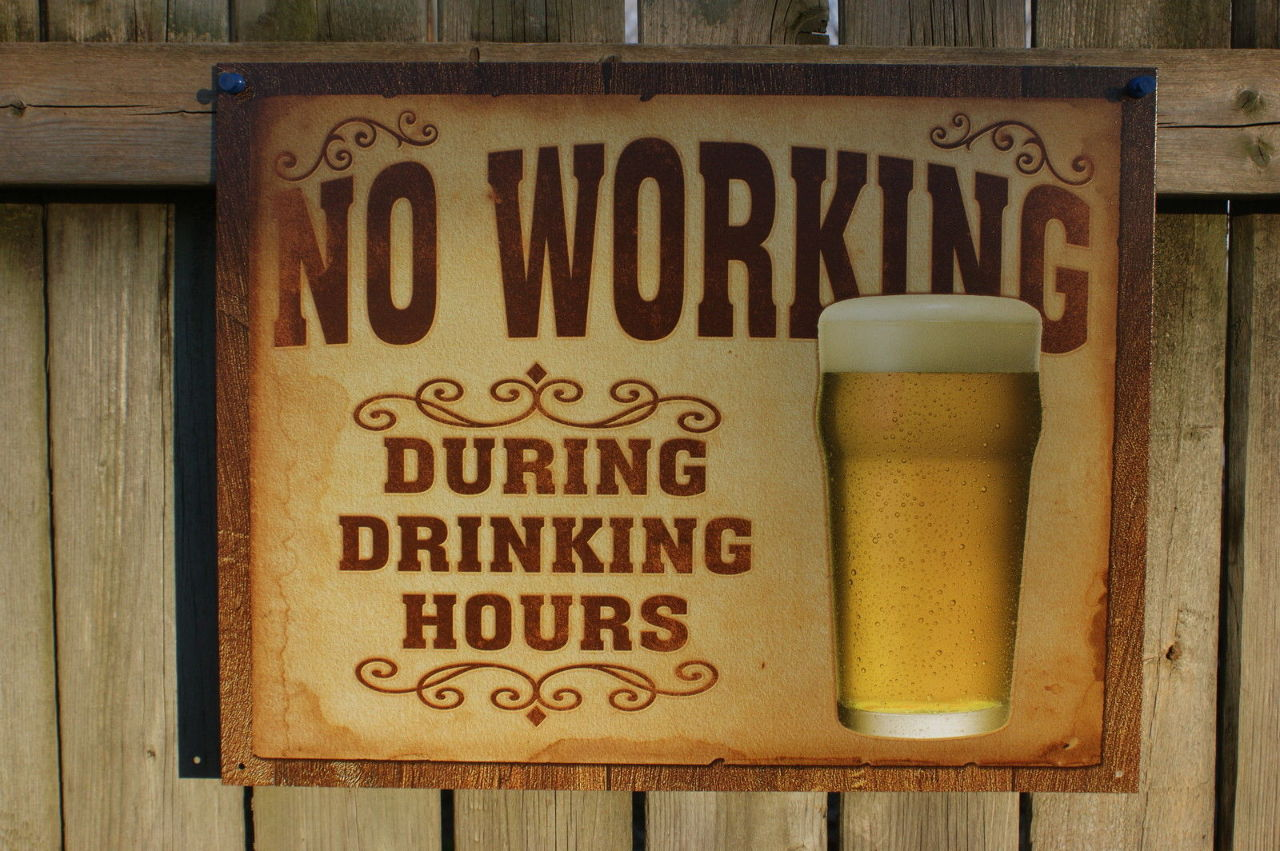garage rec room ideas - No Working During Drinking Hours Tin Sign Man Cave Garage